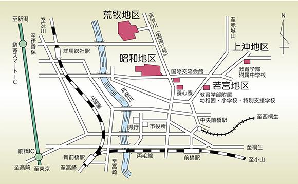 荒牧・昭和キャンパスの地図