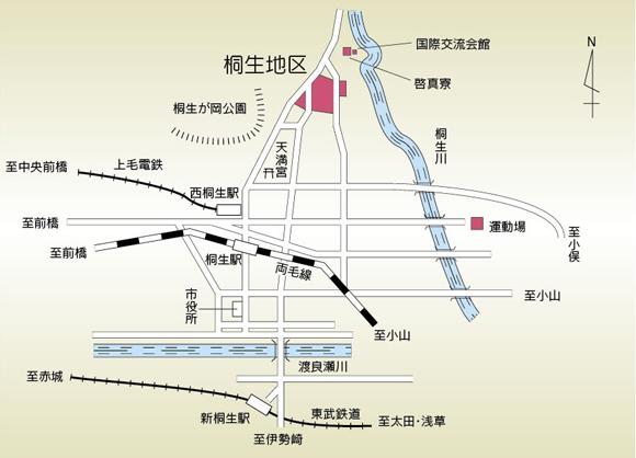 桐生キャンパスの地図