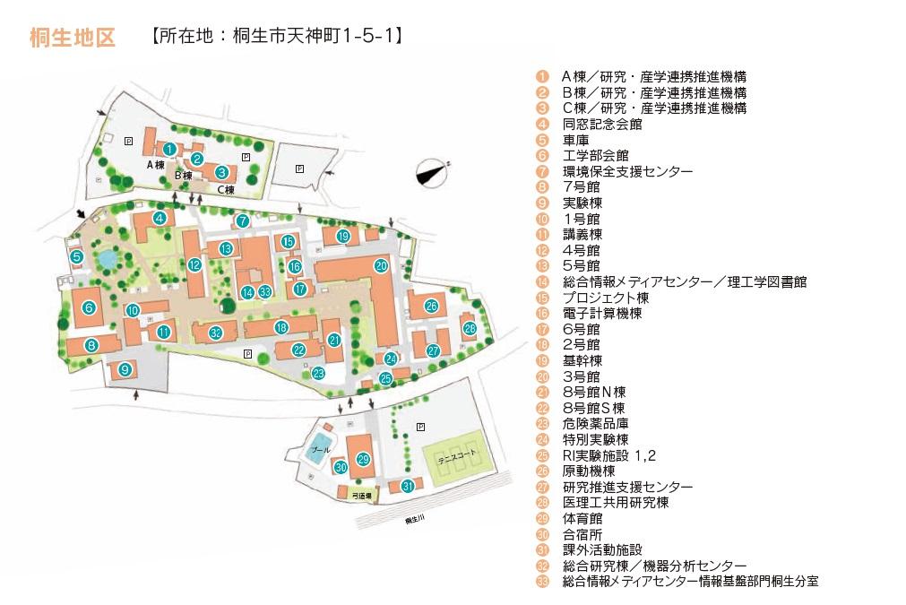 桐生キャンパス構内図