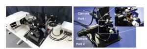 図2 システム全体(左)と投影方向を制御する3枚の電動鏡(右)の写真